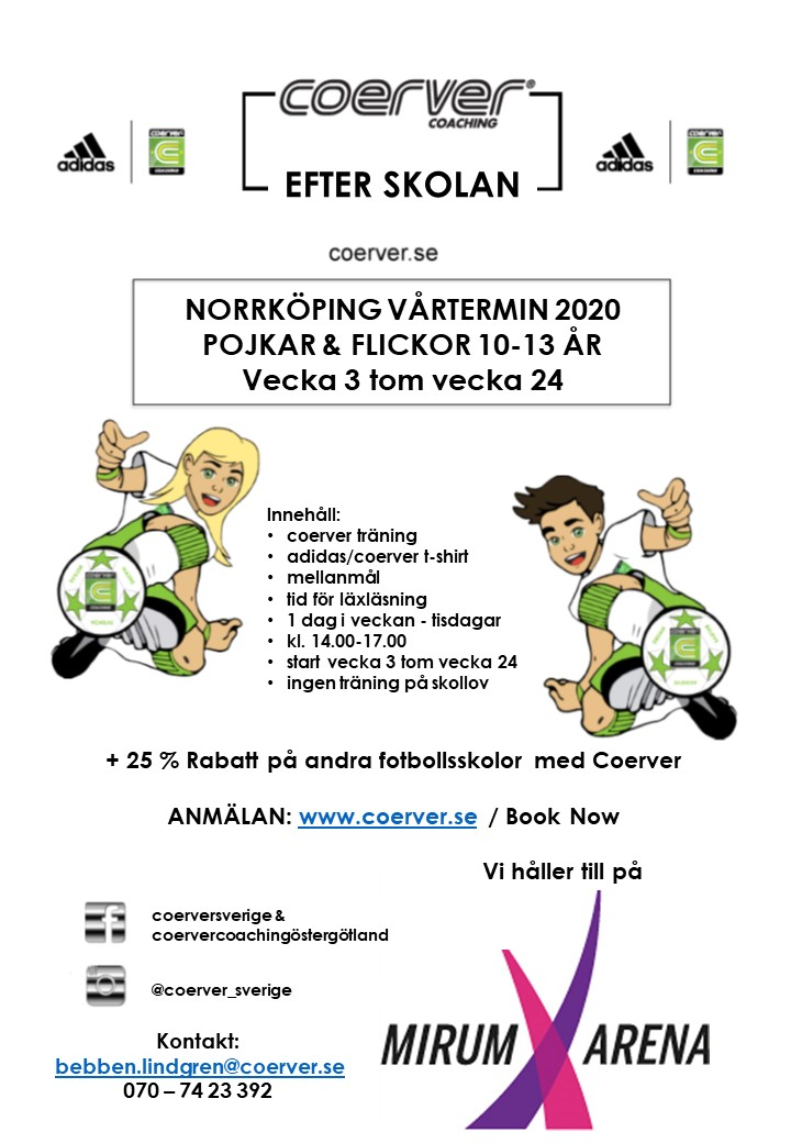 COERVER EFTER SKOLAN - NORRKÖPING 2020 VÅRTERMIN
