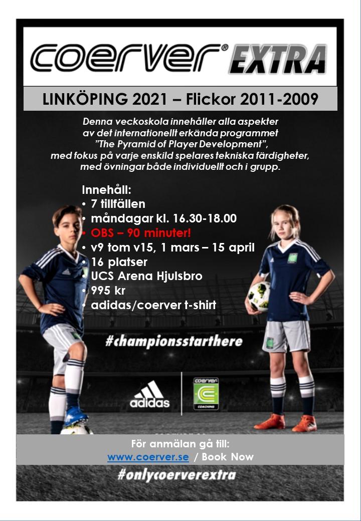 Coerver Extra Veckoskola Linköping Vår 2021 Flickor 2011-2008