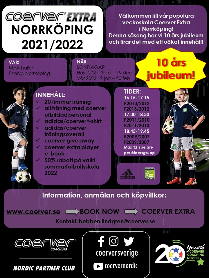 Coerver Extra Norrköping 2021/2022 - Flickor 2013/2012