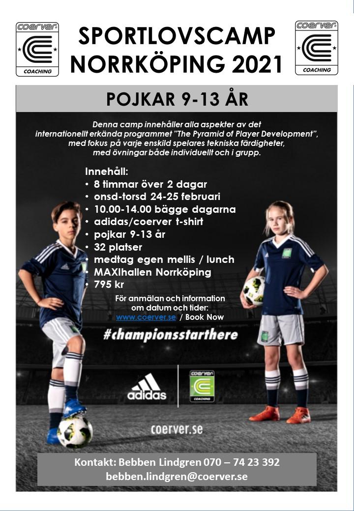 Sportlovscamp Norrköping 2021 Pojkar 9-13 år
